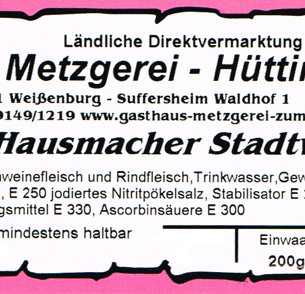 Hausmacher Stadtwurst