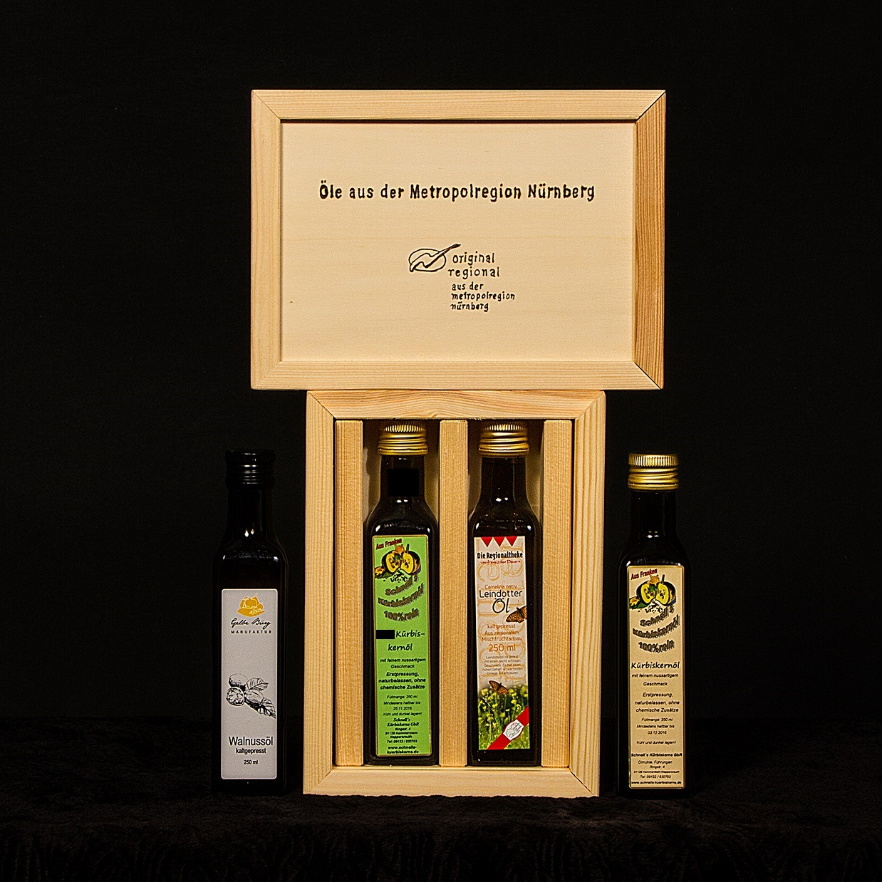 oelekiste Metropolregion Nürnberg Walnussöl, Kürbiskernöl, Leindotteröl